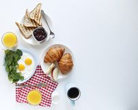 Breakfast. hand. top view. light background. copy space stock photography