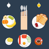 Breakfast table set mock up. Food hot drink. Top view. Breakfast table set mock up. Fast food, organic food, tea or coffee cup, vegetable, fruit, toast, spoon on Stock Photography