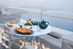 Breakfast table setting with mountain view Stock Photography