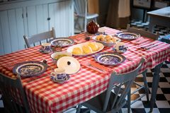 Breakfast table setting in an old house Royalty Free Stock Image