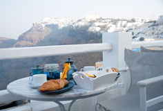Breakfast Table Setting With Mountain View Royalty Free Stock Image