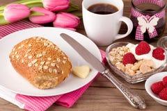 Breakfast table in springtime Stock Photos