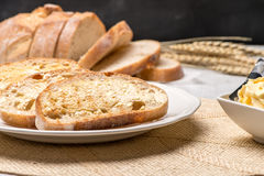 Breakfast table with toast Stock Images