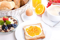 Breakfast table with toast and orange marmelade  Stock Image