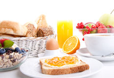 Breakfast table with toast and orange marmelade  Stock Photo