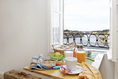 Breakfast table with a view. Breakfast table at the window facing the river at Porto, Portugal Stock Photography