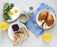 Breakfast. top view. light background royalty free stock image