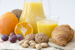 Breakfast on a table and white background Royalty Free Stock Photos