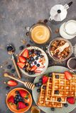 Breakfast Table With Cereal Granola, Milk, Fresh Berries, Coffee Royalty Free Stock Photo