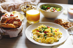 Breakfast Table With Scrambled Eggs Stock Photo