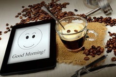 Breakfast with tablet Royalty Free Stock Photos