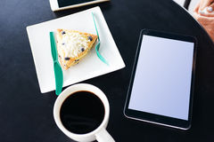 Breakfast and tablets Stock Image