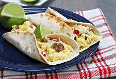 Breakfast tacos with sausage, cheese and peppers Stock Photography