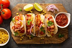 Breakfast tacos with scrambled eggs and bacon royalty free stock photos