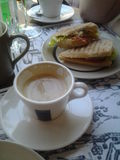 Breakfast. Tasty, cup, tea, coffee,  food, toasts Royalty Free Stock Photography