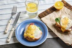 Breakfast with tasty eggs Benedict Stock Image