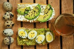 Breakfast with tea and avocado sandwich with quail eggs. Italian breakfast with tea and avocado sandwich with quail eggs  as a simple pleasure concept . Morning Stock Photography