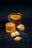 Breakfast with tea and biscuits Royalty Free Stock Photography