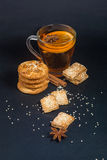 Breakfast with tea and biscuits Royalty Free Stock Image