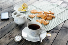 Breakfast with tea and biscuits Stock Photo