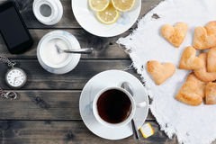 Breakfast with tea and biscuits Royalty Free Stock Photos