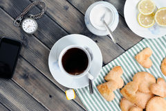Breakfast with tea and biscuits Royalty Free Stock Photo