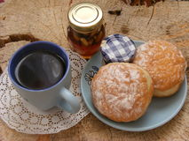 Breakfast. Tea and buns for breakfast Royalty Free Stock Photography