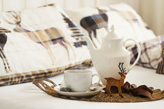 Breakfast Tea At Christmas Stock Photo