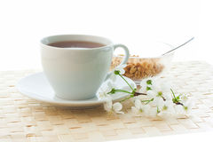 Breakfast with tea and flakes Stock Images