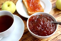 Apple jam on white bread royalty free stock photo