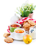 Breakfast with tea and fresh cookies Royalty Free Stock Images