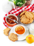Breakfast with tea and fresh cookies Royalty Free Stock Photos