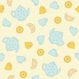Breakfast tea pattern. Vector EPS 10 hand drawn seamless pattern Royalty Free Stock Photo