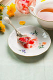 Breakfast tea with plate of red jam, spoon and garden flowers Stock Image