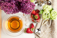 Breakfast with tea and strawberries Royalty Free Stock Images