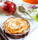 Breakfast tea with sweet apple rose shaped pie Royalty Free Stock Photography