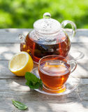Breakfast tea on table in garden Royalty Free Stock Images