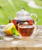 Breakfast tea on table in garden Royalty Free Stock Photography