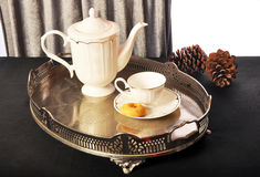 Breakfast and tea time. Porcelain tea and breakfast group group Stock Photography