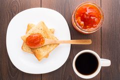 Breakfast with tea, toast and apricot jam Royalty Free Stock Photo
