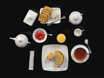 Breakfast with tea, toasts, butter, juice, jam and cake. Isolated on black table, top view. 3D illustration Stock Image