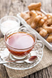 Breakfast with tea on wooden table,selective focus Stock Image