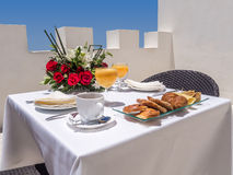 Breakfast on terrace Stock Image