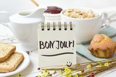 Breakfast and text good morning in french Royalty Free Stock Photos