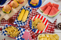 Breakfast with 4th july theme. Overhead view of breakfast with 4th july theme royalty free stock photos