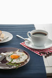 Breakfast theme with kitchen stuff. Colorful breakfast theme, morning concept royalty free stock images