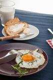 Breakfast theme with kitchen stuff. Colorful breakfast theme, morning concept stock photos
