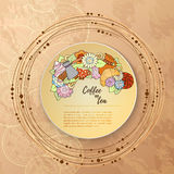 Breakfast theme. Pattern with tea cup, sweets and flowers. Tea and coffee hand drawn pattern. Stock Photos