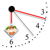 Breakfast  time. Breakfast with clock isolated in white Royalty Free Stock Images