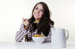 Breakfast time cereal and milk Royalty Free Stock Photography